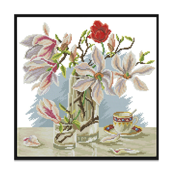 Magnolia - 14CT Stamped Cross Stitch - 36x34cm