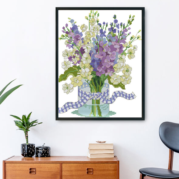 Orchid - 14CT Stamped Cross Stitch - 32x27cm