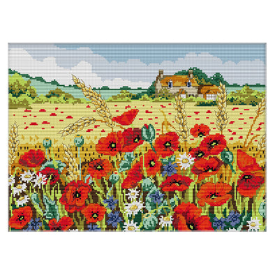 Poppy - 14CT Stamped Cross Stitch - 43x33cm