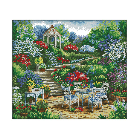 A Corner Of The Garden - 14CT Stamped Cross Stitch - 57x51cm