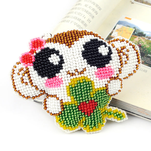 Four Leaf Clover Monkey - Bead Embroidery - Keychain