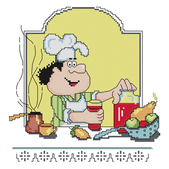 Chef - 14CT Stamped Cross Stitch - 27x26cm