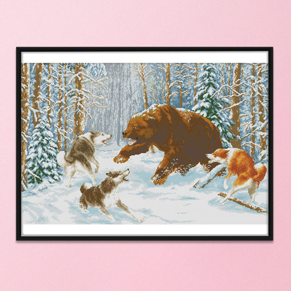 Snow Wolf And Bear - 14CT Stamped Cross Stitch - 70x49cm
