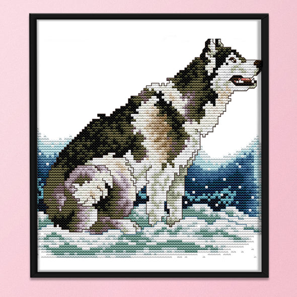 Wolfdog - 14CT Stamped Cross Stitch - 21x21cm