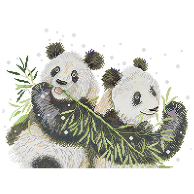 Two Pandas - 14CT Stamped Cross Stitch - 45x35cm