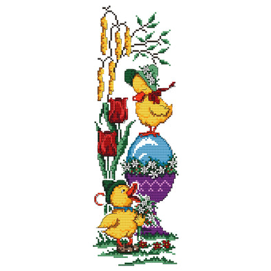 Easter Eggs And Cute Ducklings - 14CT Stamped Cross Stitch - 37x15cm