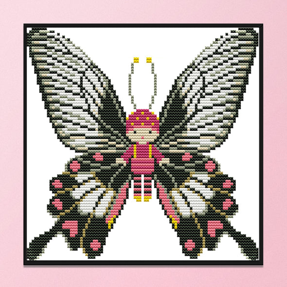 Butterfly Doll - 14CT Stamped Cross Stitch - 21x20cm