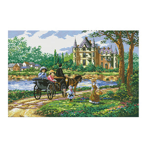 Lady'S Castle - 11CT Stamped Cross Stitch - 67*47cm