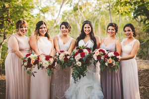 Burgundy & Blush Cascading Bouquet