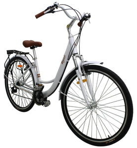 Cruiser Bike 700cc Wheel, 21 Speeds, White