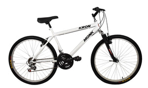 "Mountain Bike KRON 26"" Wheel, 18 Speeds, Front Suspension, White"