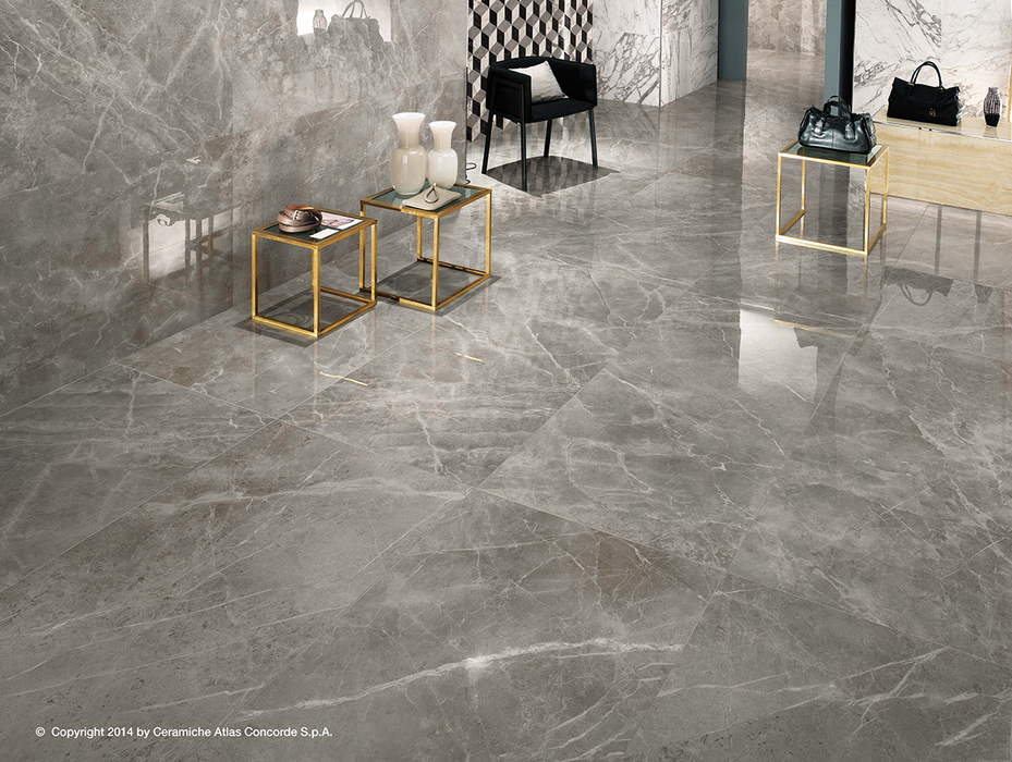 Marvel Pro Grey Fleury 600x600mm Polished Finish Floor Tile (1.08m2 box)