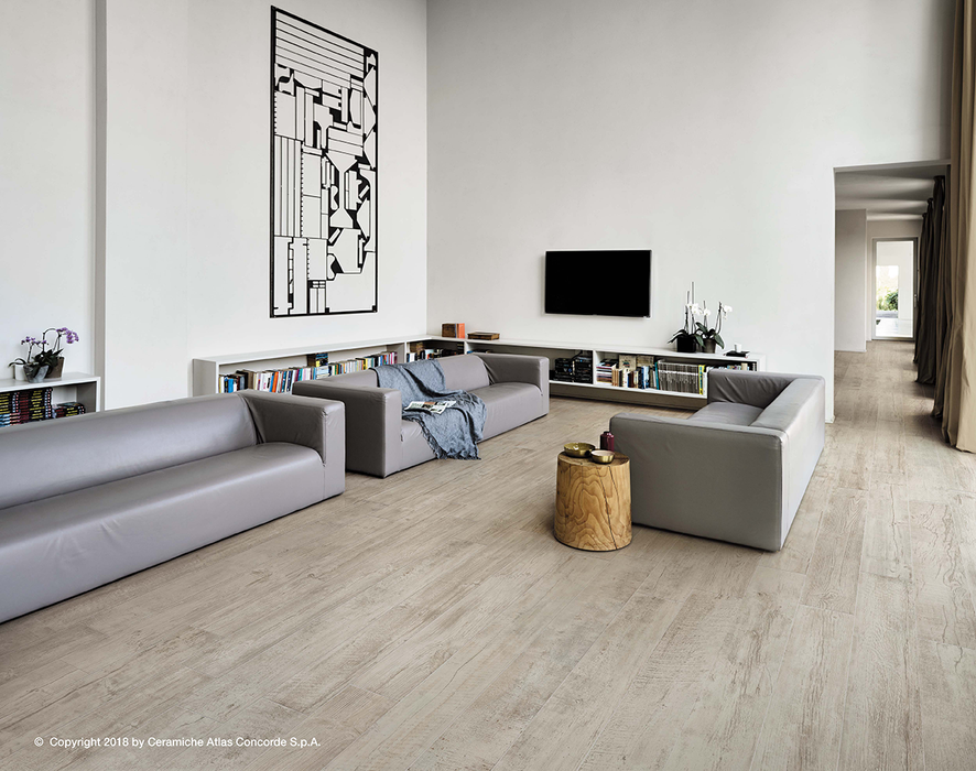 Nash White Wood 200x1200mm Matte Finish Floor Tile (1.44m2 box)