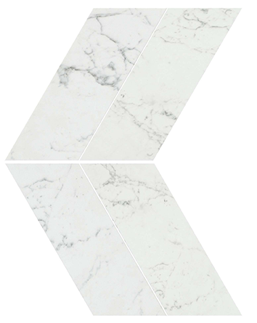 Marvel Stone Carrara Pure Chevron 225x229mm Polished Finish Floor Tile (0.31m2 box)
