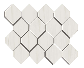 Marvel Stone Bianco Dolomite Mosaic Esagono 282x353mm 3D Finish Wall Tile (0.6m2 box)