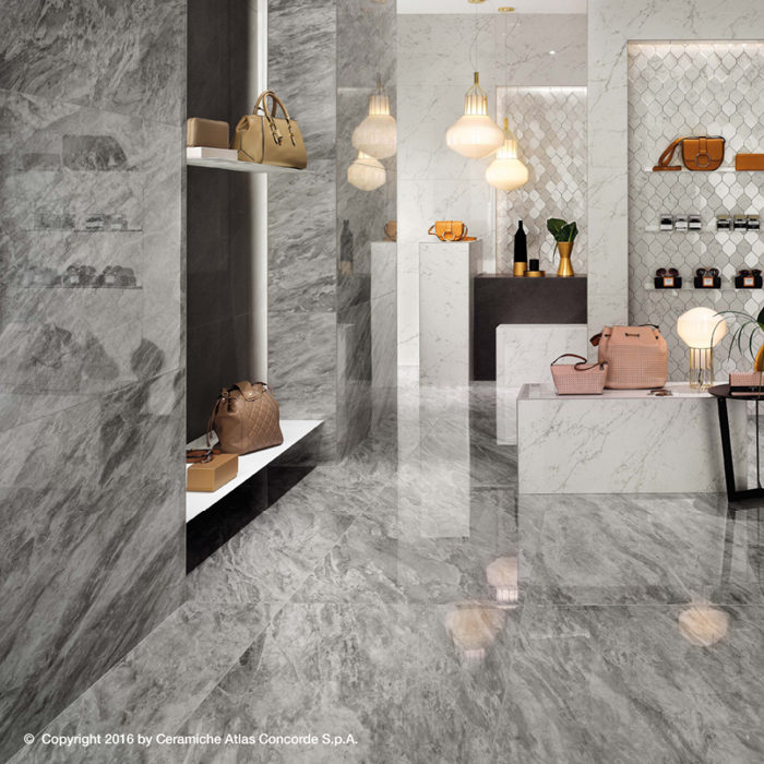 Marvel Stone Bardiglio Grey 450x900mm Matte Finish Floor Tile (1.215m2 box)