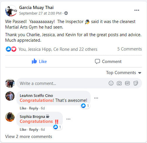 Garcia Muay Thai in Glen Cove, NY reviews Selectrocide 5g Chlorine Dioxide Disinfectant and TrustedSafe Clean-Check Hygiene Testing & Monitoring