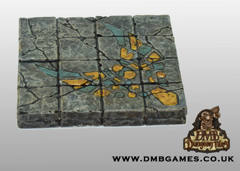 4x4 Floor Tile: Cracked Flagstone with Eagle Mosaic