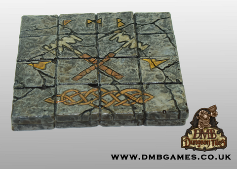 4x4 Floor Tile: Cracked Flagstone with Crossed Hammer Mosaic