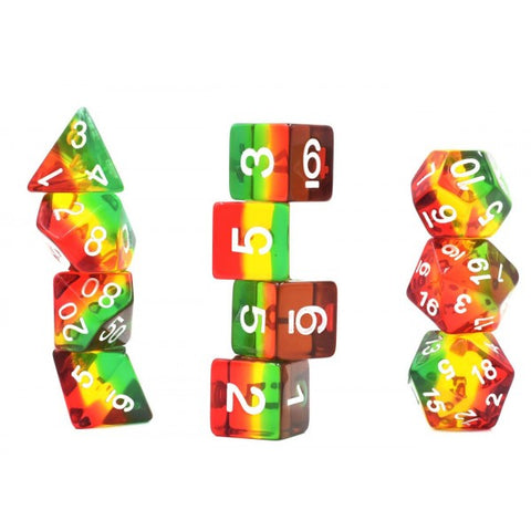 Aurora Gem: Rasta 11 Dice Set