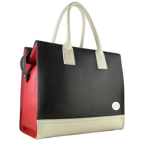 Carbotti Tote In Black, Red & Ivory