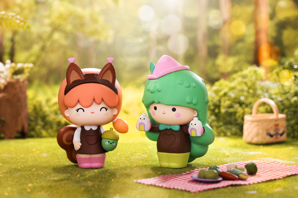 Two adventure Momiji Dolls in a kawaii nature setting
