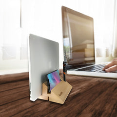 wooden adjustable vertical laptop stand