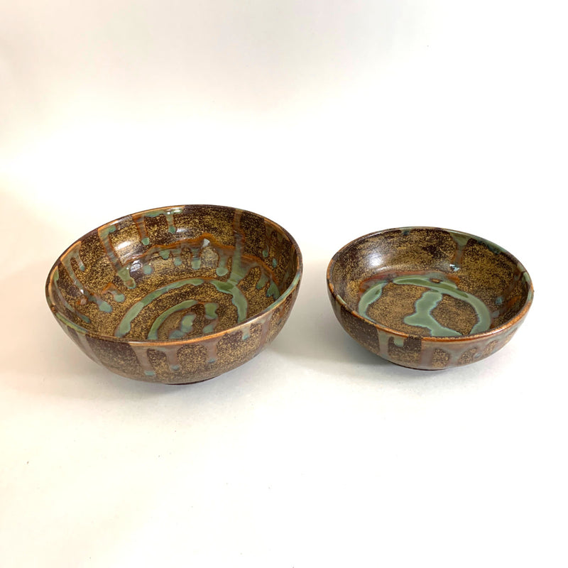 Bowls Brown Green set of 2