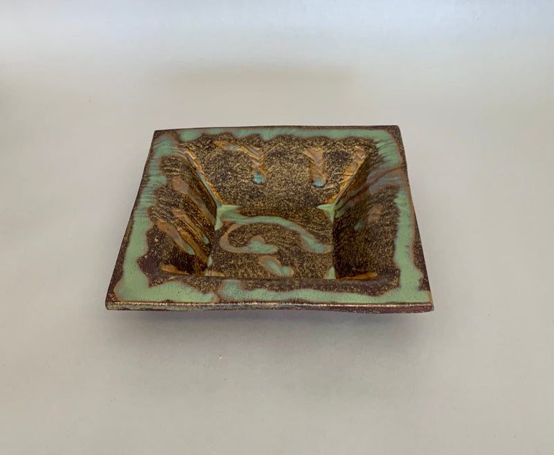 Brown Green Square Tray