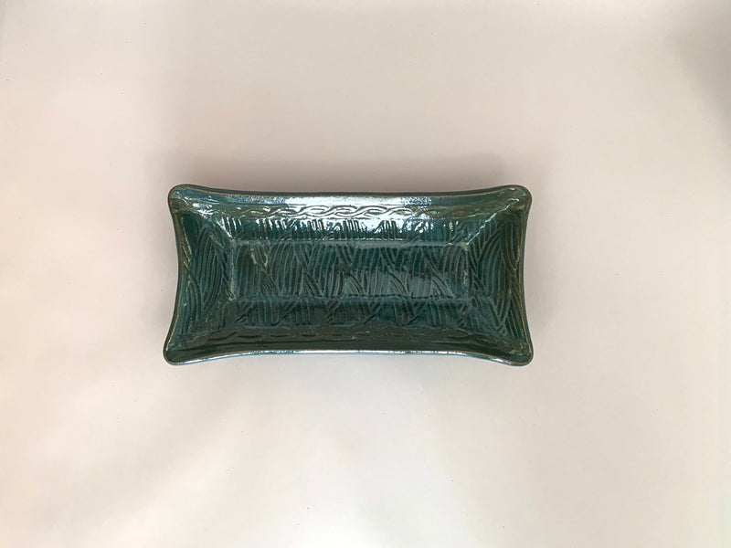 Tray, Dark Green Textured