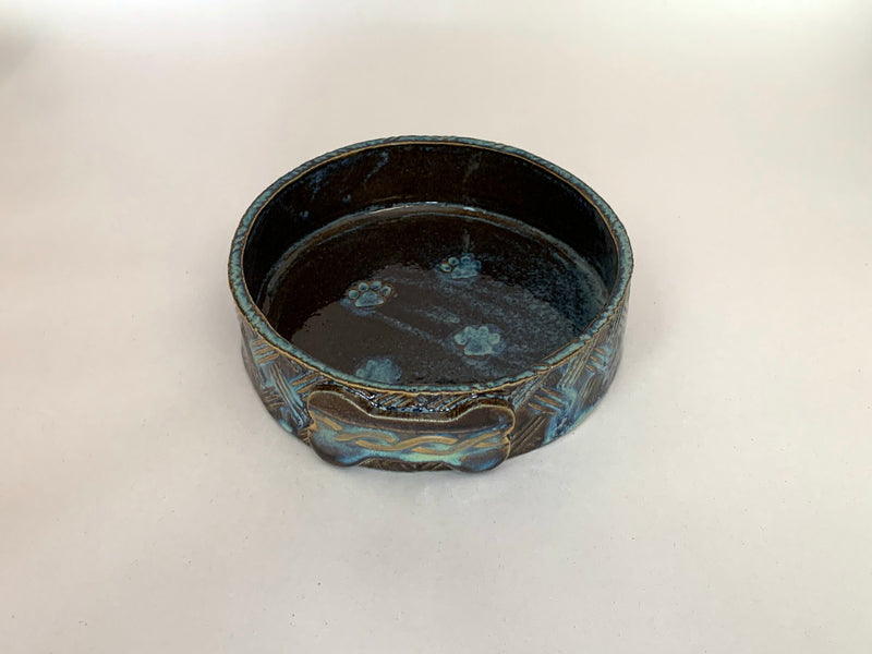 Dog Bowl Brown and Blue