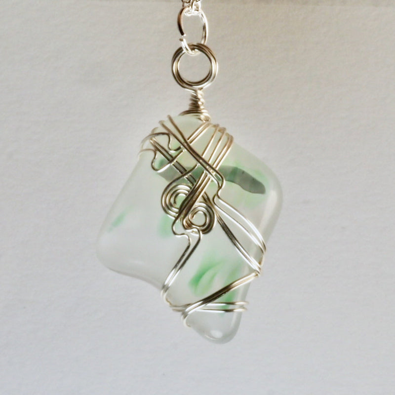 Harmony Glass Wire Wrapped Pendant    hg0046