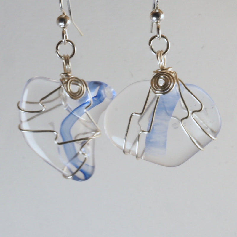 Wire Wrapped Harmony Glass Earrings hg0052