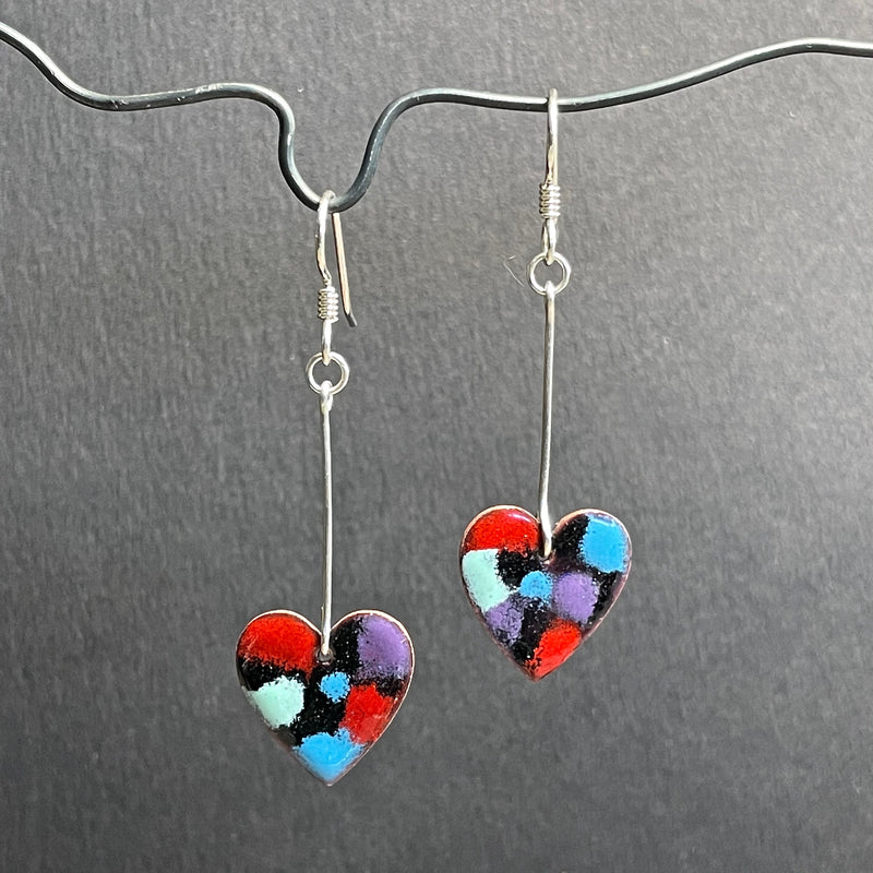 Black/Multi Colored Hearts