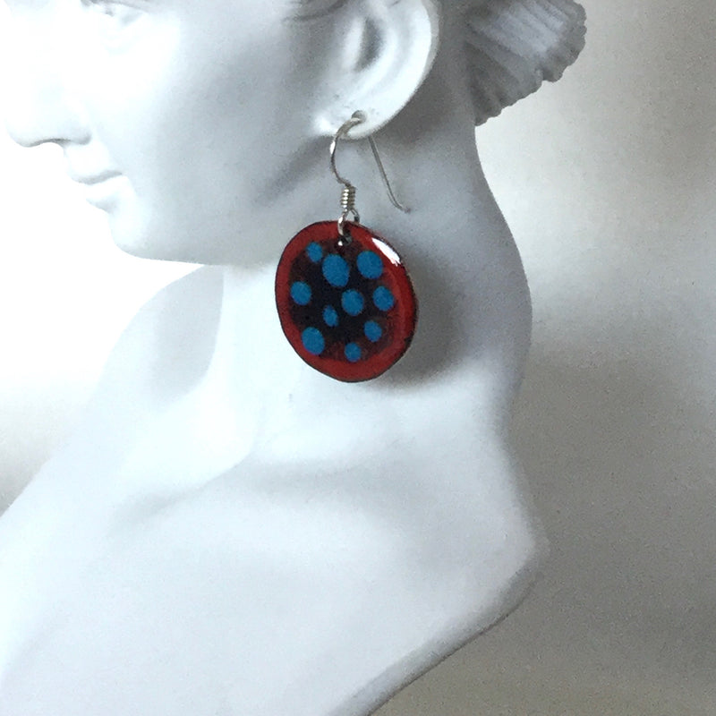 Polka Dot Enamel Earrings