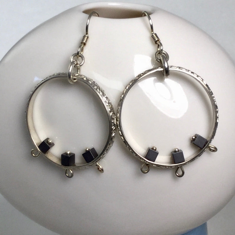 Silver Hoops with Hematite Beads