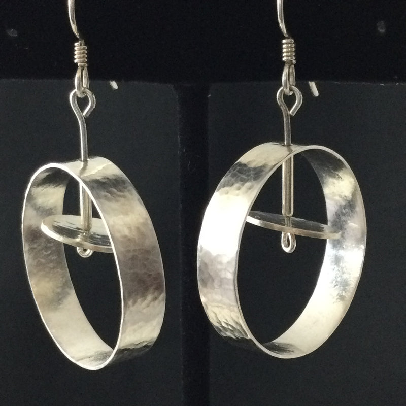 Hoops With Floating Disc Earrings