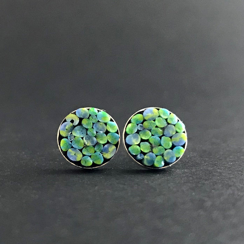 Earrings, Round Posts Blue/Green
