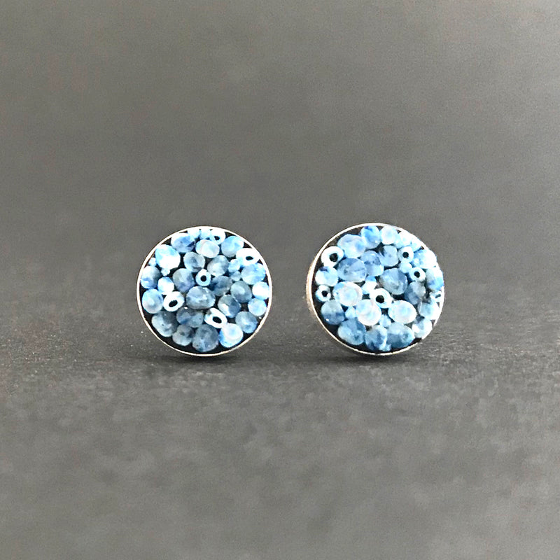 Earrings, Round Posts Blue Blend