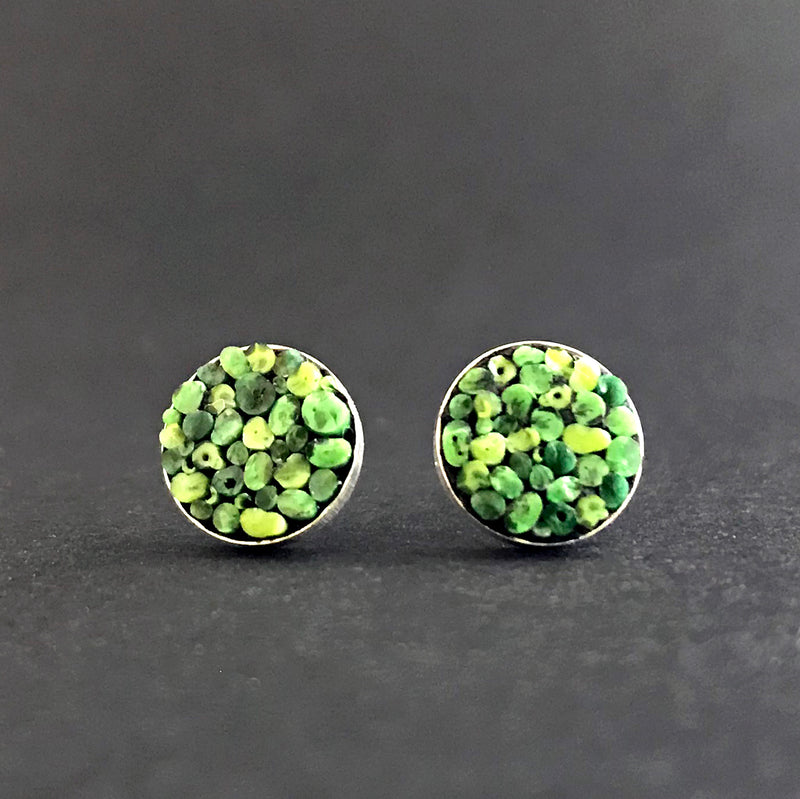 Earrings, Round Posts Green