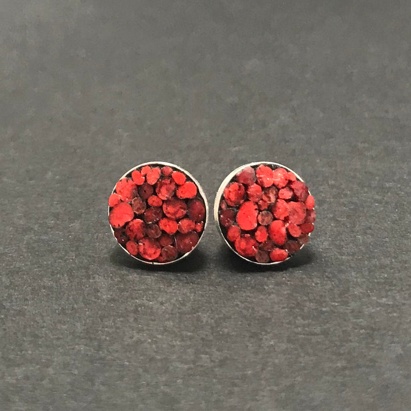 Earrings, Round Posts Red