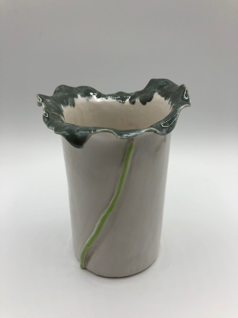 White Ruffled Vase