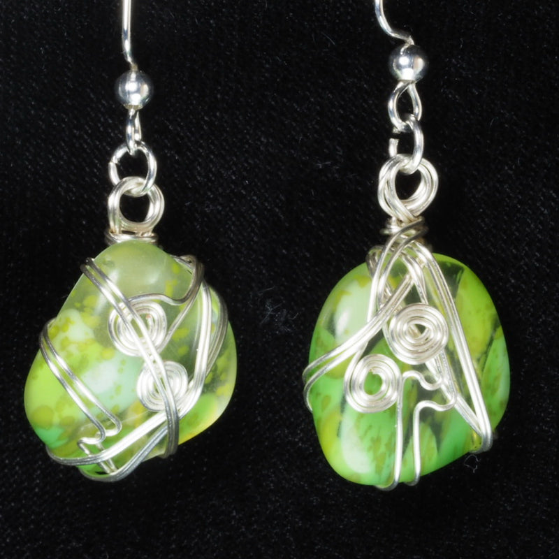 Harmony Glass Wire Wrapped Earrings hg0058
