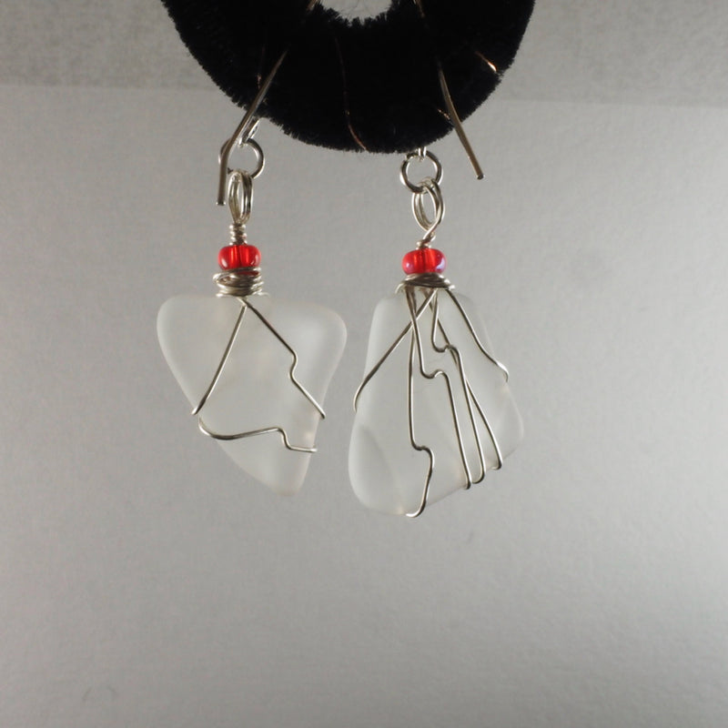 Wire Wrapped Sea Glass Earrings sg006