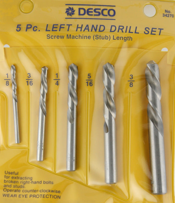 5 Piece Left Hand Stubby Drill Bit Set