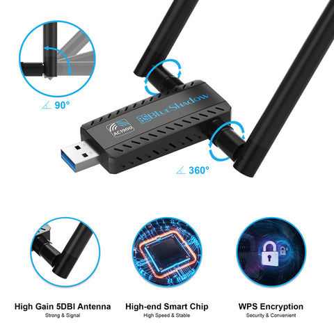 Blueshadow USB Wifi Adapter 1900Mbps for PC game