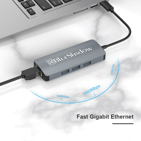 Blueshadow  4 in 1 USB 3.0 to Ethernet Adapter-Grey