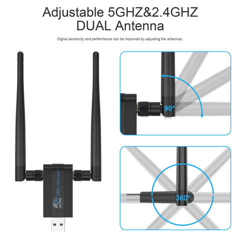 Blueshadow USB WiFi Adapter 1200Mbps -Dual Band