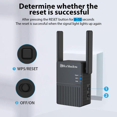 Blueshadow WiFi Range Extender 1200Mbps-Black