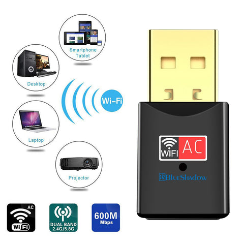Blueshadow Mini USB WiFi Adapter 600 Mbps-Black